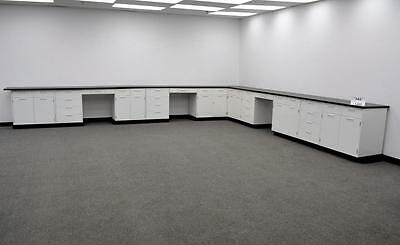 35' Base Fisher Hamilton  Metal Laboratory Cabinets WITH Counter Tops