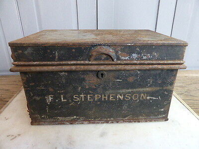 Antique Victorian metal deed box strong box F L Stephenson dated 1889