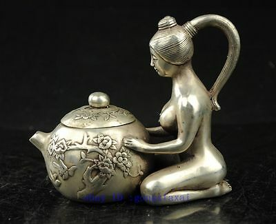 China Collectible Old Tibet Silver Naked Statue Flower Decor Noble Teapot Decor