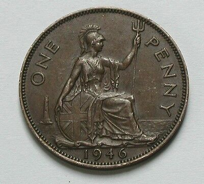 1946 UK (British) George VI Coin - Penny 1d - toned brown