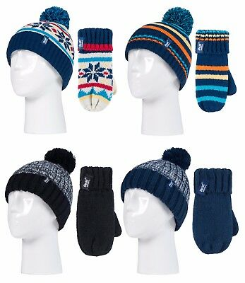 Heat Holders - Boys Kids Winter Thermal Cold Weather Pom Pom Hat and Mittens Set