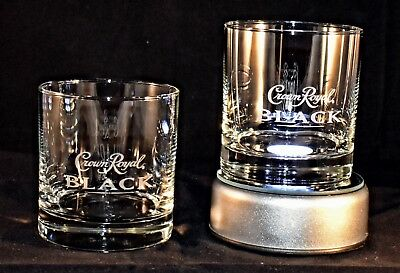 Crown Royal BLACK Embossed/Etched Set of 2 Old-Fashioned Whiskey Glasses Italy