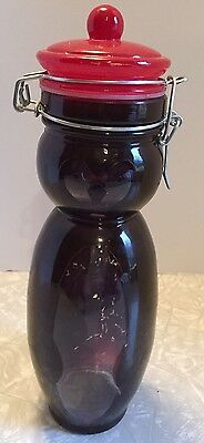Glass Owl Jar With Red Hinged Lid Brown Decal