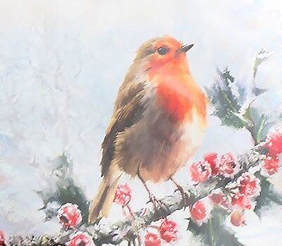 Robin Redbreast On Holly Branch Christmas Napkins Serviettes~Macneil~Free Pp Uk