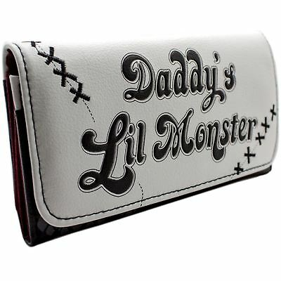 New Official Suicide Squad Harley Quinn Daddys Lil Monster White Tri-Fold Purse