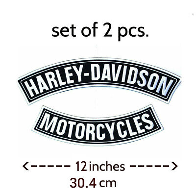 EXTRA LARGE Harley Davidson B&W Rockers Patches Set (back emblem)