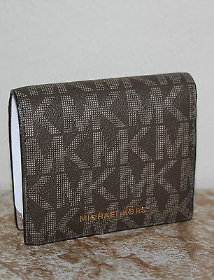 NWT Michael Michael Kors Mocha Leather Jet Set Travel Carryall Card Case