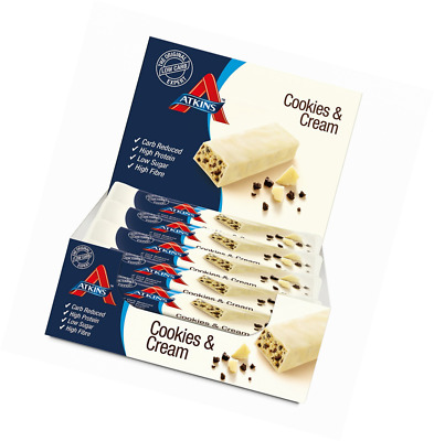 Atkins Cookies and Cream, Low Carb, High Protein Snack Bar, 15 x 30g