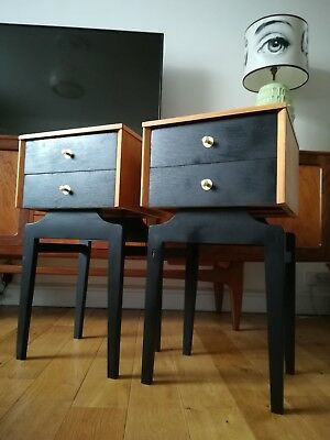 Superb Pair Of 1950S Light Oak Bedside Drawers Tables Mid Century Modern Danish