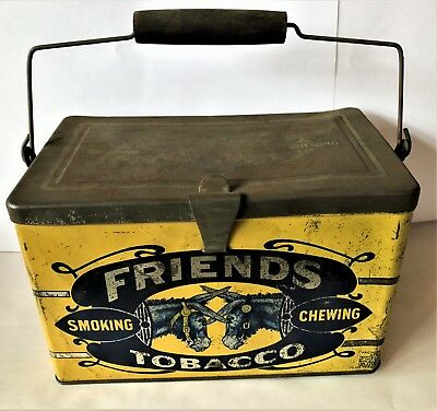 RARE FRIENDS TOBACCO EMBOSSED METAL Lunch Box Tin Smoking
