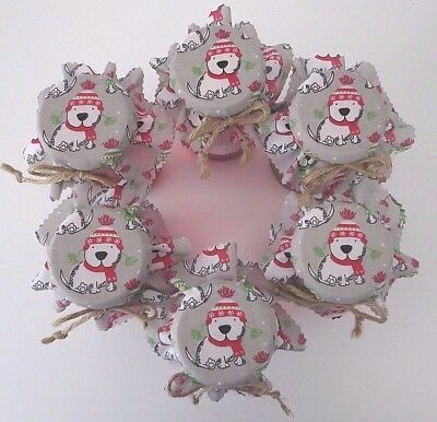 6 Homemade Christmas dog jam jar covers, labels bands and knotted jute ties.