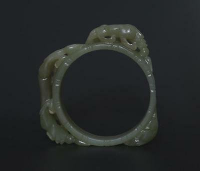 Good Antique Chinese Carved Natural Nephrite He Tian Jade Bracelet Bangle s348