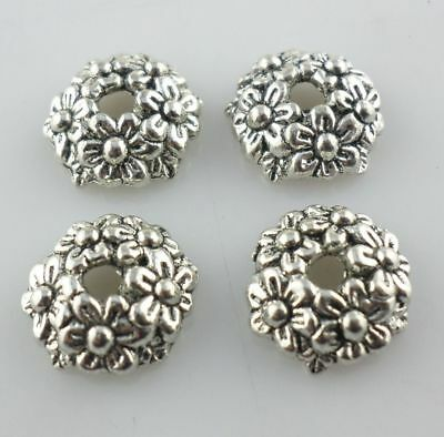 50/400pcs Flower Antique Silver Charms Spacer Bead Caps Crafts Jewelry 11mm