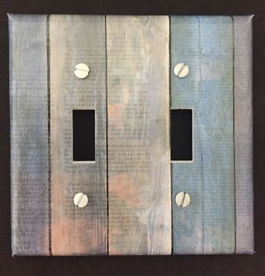 Blue Planks Light Switch Cover Plate Wooden Planks Vintage Looking Country Decor