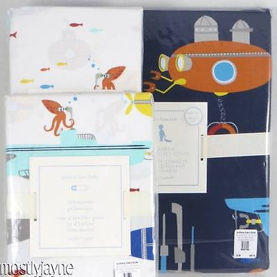 Pottery Barn Kids - 4-Pc. Submarine TODDLER DUVET, SHAM, Crib SHEET & CASE - NWT