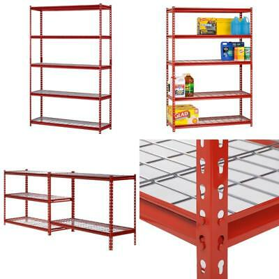 Heavy Duty Metal Storage 5 Shelves Shelf Rack Steel Shelving 48 x 18 72 Red