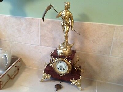 Impressive Red Sienna Marble Victorian Mantle Clock 1885
