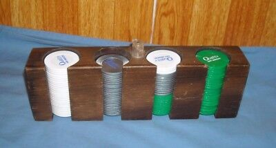 Poker Chips With Wood Caddy Rack Holder
