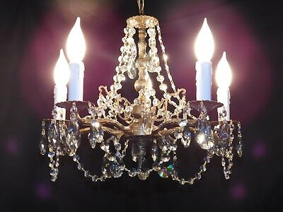 Antique petite brass crystal chandelier 5 lights quality 30% lead crystal