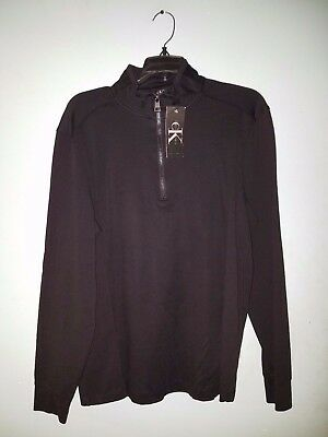 Men's Calvin Klein Long Sleeve 1/4 Zip Pullover Black, Size M NWT