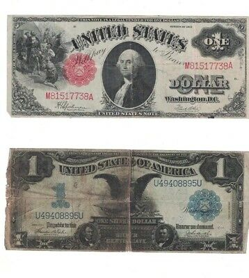 Series 1899 $1 Lg Size Silver Certificate & Series 1917 $1 United States Lg Note