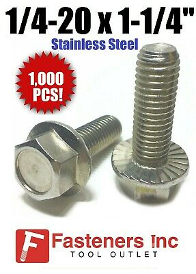 Qty 25 Stainless Steel Hex Cap Serrated Flange Bolt FT UNC #12-24 x 1-1//4/""