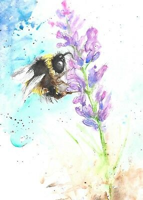 NEW ORIGINAL WATERCOLOUR CONTEMPORARY 5 GREETINGS CARDS A6  bee