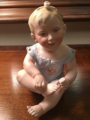 Porcelain Piano Baby w/ Gilded Outfit- impressed mark
