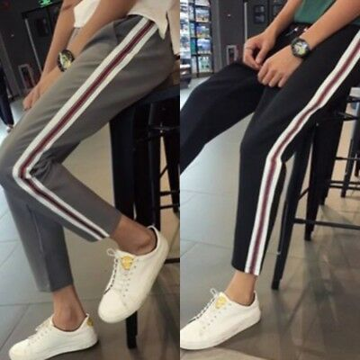 Women Casual Harem Pants Side Striped Ankle Length High Waist Loose Trousers