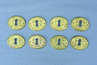 Antique SET 8 VICTORIAN PRESSED BRASS KEY HOLE COVER ESCUTCHEON HARDWARE #03792