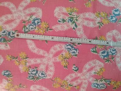 Vtg Feedback Fabric Pink with Lace Ribbons 38x43""