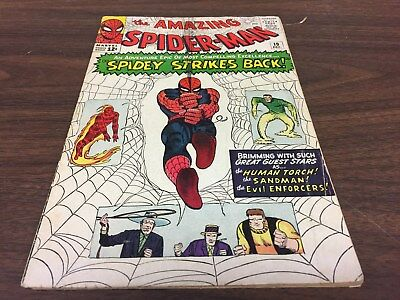Spider-Man #19 vintage Silver Age Marvel comic Sandman Human Torch Dec 1964!