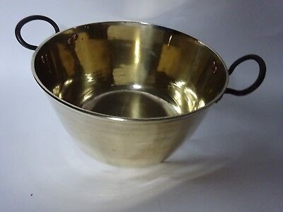 Antique Solid Brass Jam Cooking Pot With Side Wrought Iron Handles Copper Rivets