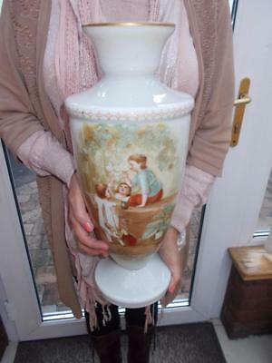 Large 19Th C Opaline Glass Vase Hand Painted Children With Bubbles Bohemian
