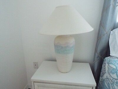 Baige lamp with Light Blue band With Baige Fabric Shade Table Lamps, Set of 2