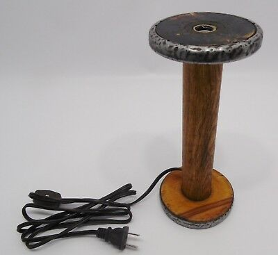 """Old Factory BOBBIN Accent LAMP 9"""" Tall Primitive Vintage Country Antique"""