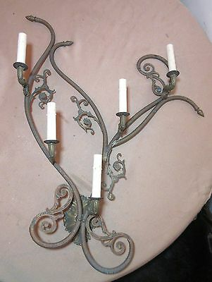 HUGE antique ornate wall mount electric candle gilt bronze brass sconce fixture