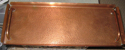 Old beaten copper handled oblong tray - arts and crafts style