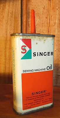 Antique Singer Sewing Machine Advertising Oil Tin Can