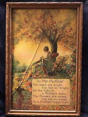 """Vintage """"To My Mother"""" PEARCE ~ MaryGold ~ Gold Carved Wood Frame-Glass Broken"""