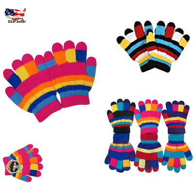 6~60 Kid's Children Striped Knit Magic Warm Winter Gloves Knitted Lot Wholesale