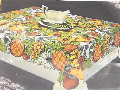 Vintage Polynesia Orange Pineapple Fruit Island Theme 51x70 Oblong Tablecloth K1