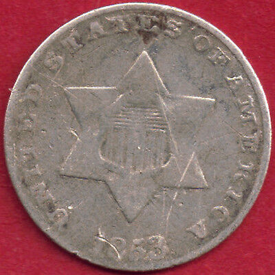 USA 1853 .750 Silver 3 cents Trime Shield on six sided star