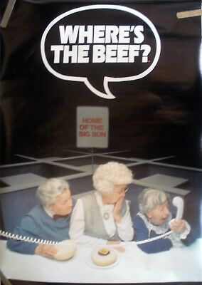 Rare Wendy's Where's The Beef 1984 Vintage Original Pin Up Poster
