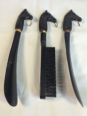 Vintage Horse Shoe Horn Set With 2 Shoe Horns and a Brush