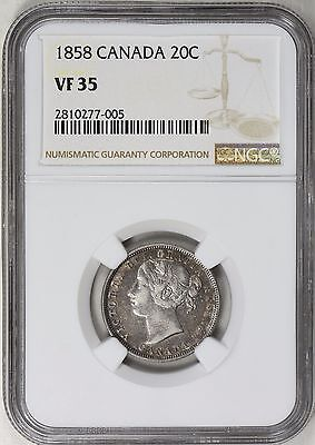 Canada 1858 Silver 20 Cents NGC VF-35