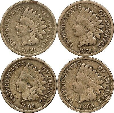 1859, 1860, 1862 & 1863 Indian Head 1c - Lot of (4) Coins