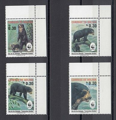 Timbre Stamp  4  Bolivie Y&t#767-70 Ours Bear  Neuf**/mnh-Mint 1991 ~A56