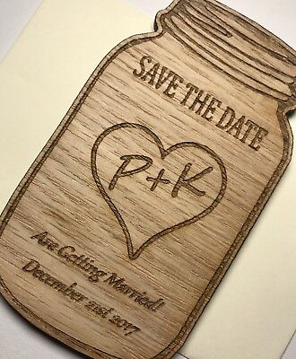 9cm Personalised Wooden Jar Magnet Wooden Save The Date / Evening Invite