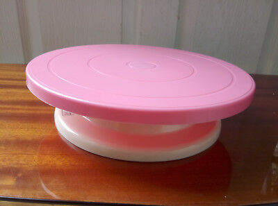 28cm  Icing Turntable Cake Decorating Rotating Revolving Stand Kitchen Bake Pink